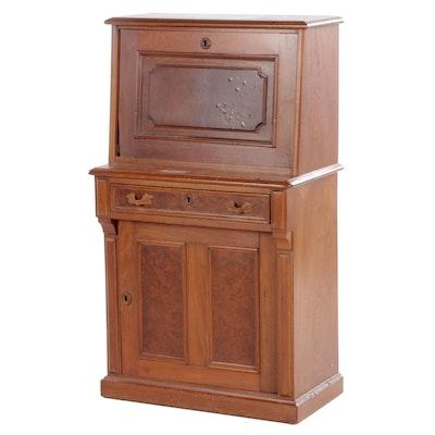 Small Renaissance-Revival Walnut Fall-Front Desk, Late 19th Century
