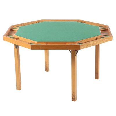 Octagonal Folding Oak Poker Table with Vinyl Cover