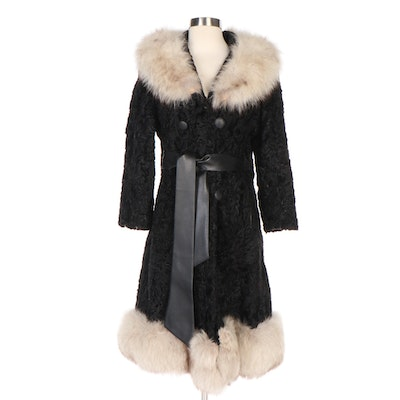 Persian Lamb and Fox Fur Trim Coat with Tie Belt from Brandenburg Furs