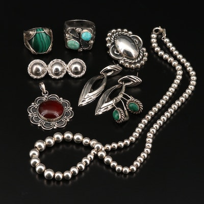 Sterling and Fine Silver Jewelry with Turquoise, Agate and Malachite