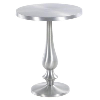Brushed Aluminum Pedestal End Table
