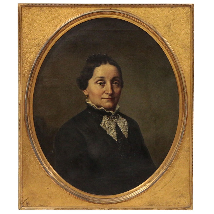 Oil Portrait of Woman with Lace Collar, Early 20th Century