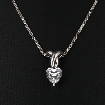14K Cubic Zirconia Heart Pendant Necklace