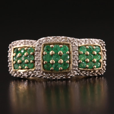 Sterling Silver Emerald and Diamond Bar Ring