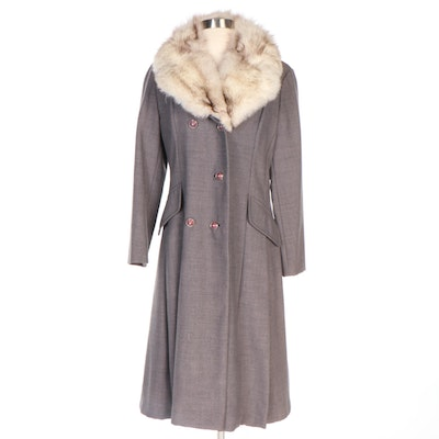 Holly Poplin Gray Double-Breasted Woolen Coat with Fox Fur Trim