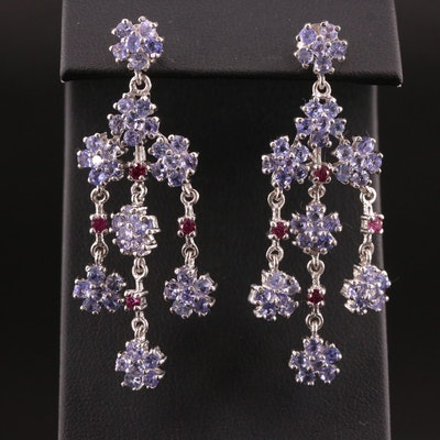 Sterling Tanzanite and Garnet Chandelier Earrings