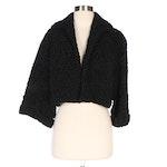 Black Faux Persian Lamb Cropped Jacket