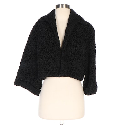 Black Faux Persian Lamb Cropped Jacket