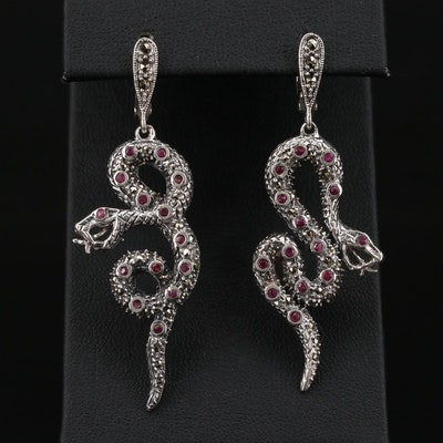 Sterling Silver Ruby and Marcasite Serpent Dangle Earrings