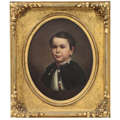 Oil Painting of Young Boy, Late 19th Century