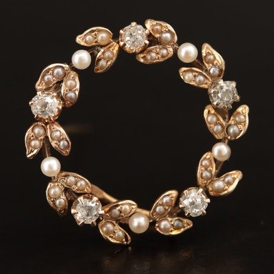 Victorian 10K Diamond and Seed Pearl Wreath Converter Brooch