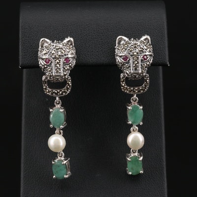 Sterling Emerald, Cultured Pearl and Marcasite Feline Door Knocker Earrings