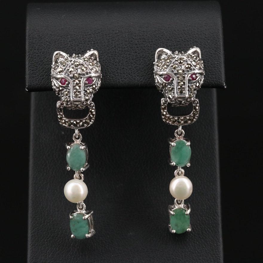Sterling Emerald, Cultured Pearl and Marcasite Feline Door Knocker Earrings