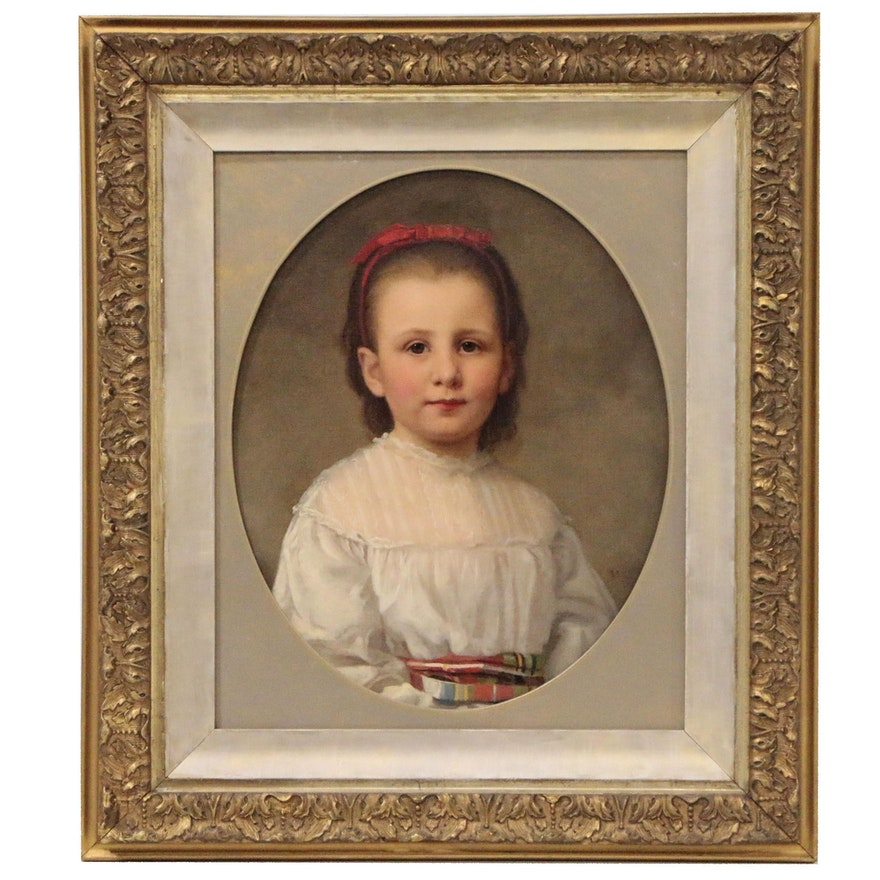 Young Scottish Girl Oil Painting, Circa 1888