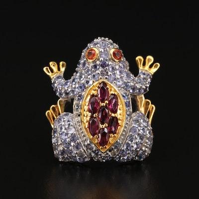 Sterling Silver Rhodolite Garnet, Tanzanite and Sapphire Frog Ring