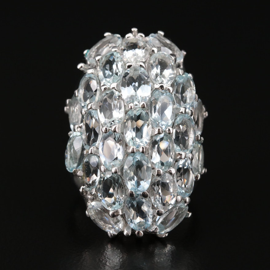 Sterling Silver Aquamarine Cluster Ring