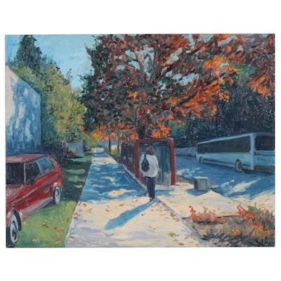 "Farnoosh Lanjani Oil Painting ""12th Ave."", 1995"