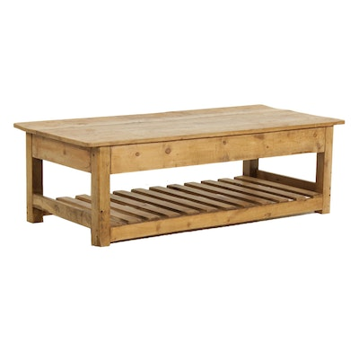 Rustic White Pine Tiered Coffee Table, Late 20th Century