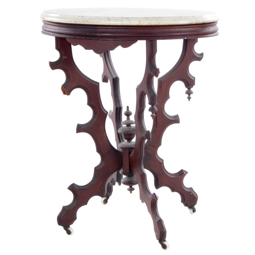 Victorian Walnut Oval Center Table with Marble Top