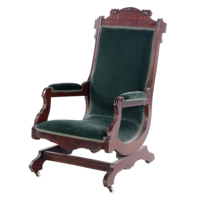 Victorian, Eastlake Style Velvet-Upholstered Walnut Platform Rocking Chair