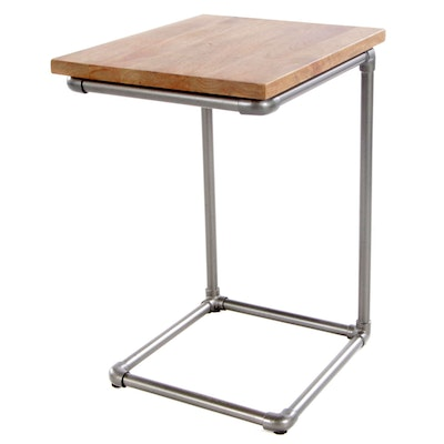 West Elm Mangowood and Steel Pipe Side Table