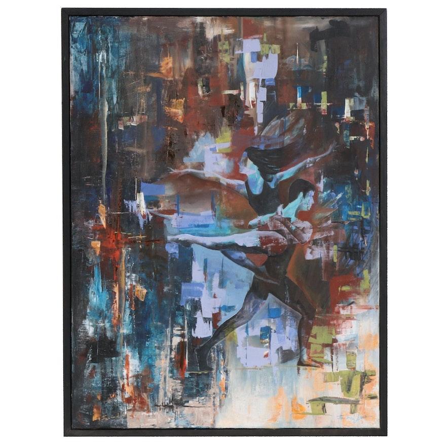 "Farshad Lanjani Acrylic Painting ""The Escape"", 2017"