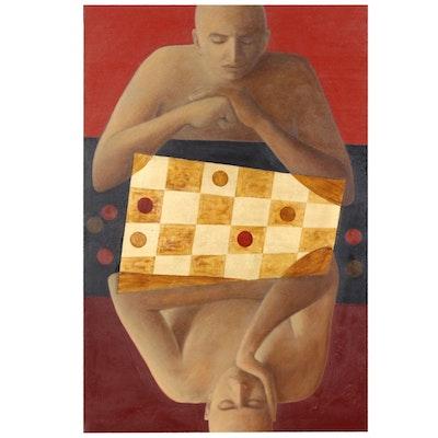 """Farnoosh Lanjani Oil Painting with Gold Leaf """"Game II"""", 2008"""