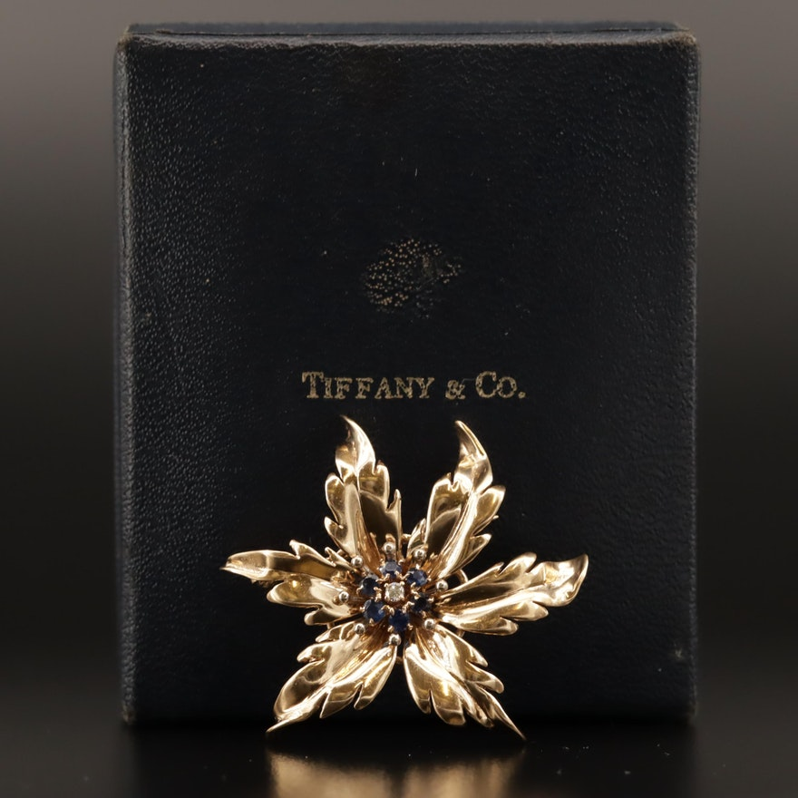 Vintage Tiffany & Co. 14K Diamond and Sapphire Floral Brooch with Box
