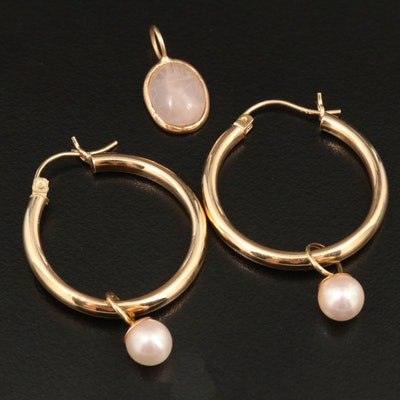 14K Hoop with Cultured Pearl Jackets and Carved Rose Quartz Scarab Pendant