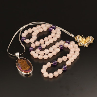 14K and Sterling Necklaces with 800 Silver Filigree Butterfly Brooch