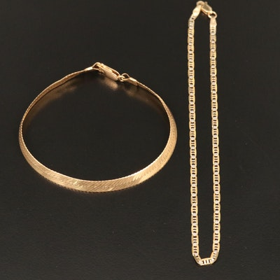 14K Herringbone Chain Bracelet and Mariner Style Chain Anklet