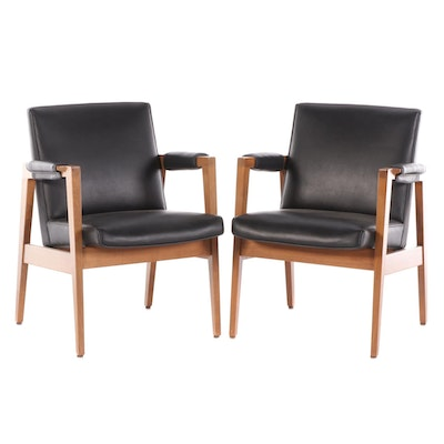 Pair of Gunlocke Mid Century Modern Walnut Armchairs with Padded Arms