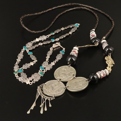 Mixed Metal Necklaces with Early 1980s 100-Soles de Oro Coins from Peru