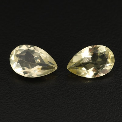 Matched Pair of Loose 5.57 CTW Pear Faceted Citrines