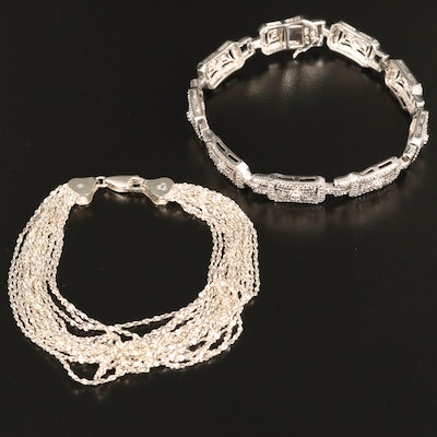 Sterling Silver Serpentine Chain Multi-Strand and Panel Bracelet