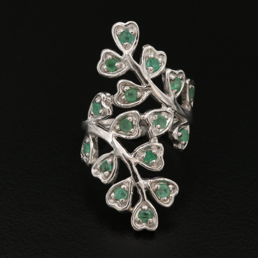 Sterling Silver Emerald Clover Motif Ring