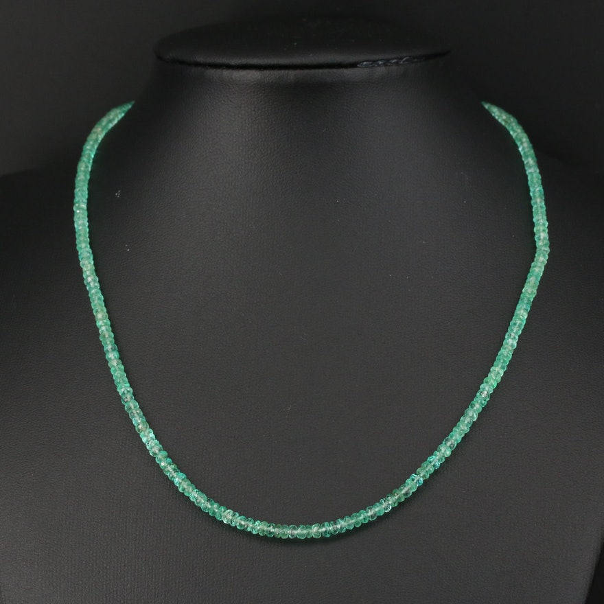 Emerald Beaded Necklace with Sterling Clasp