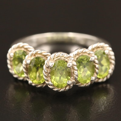 Sterling Silver Peridot Step Ring with Rope Accents