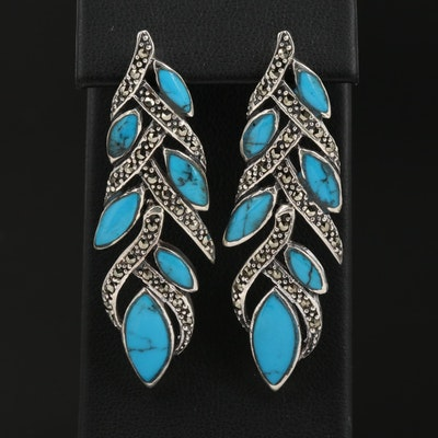 Sterling Silver Faux Turquoise and Marcasite Dangle Earrings