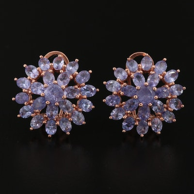 Sterling Silver Tanzanite Motif Earrings