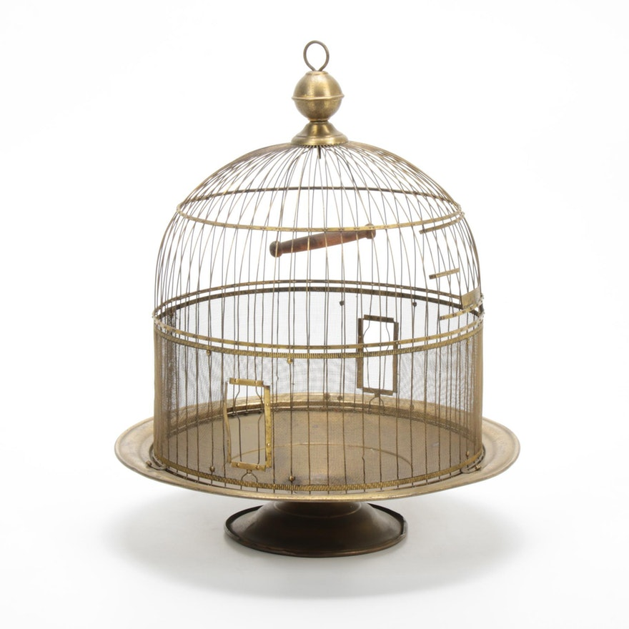 """""""Hendryx"""" New Haven Brass Beehive Bird Cage, 1930s"""