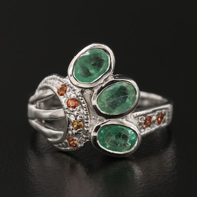 Sterling Emerald Ring with Sapphire Accents