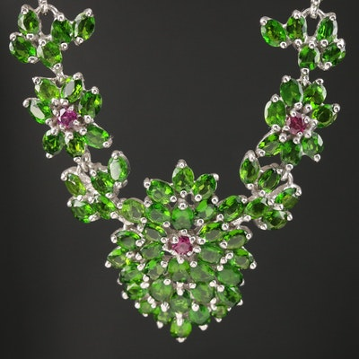 Sterling Diopside and Garnet Floral Necklace