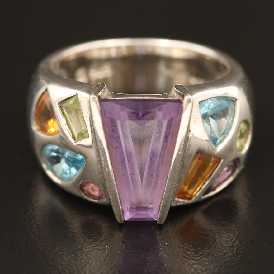 Sterling Ring with Amethyst, Citrine, Topaz and Peridot