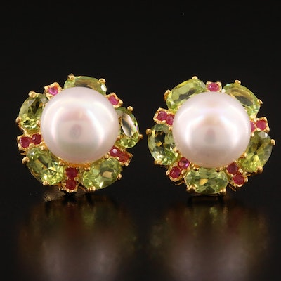 Sterling Pearl, Peridot and Ruby Button Earrings