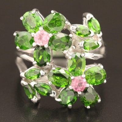Sterling Diopside and Morganite Floral Ring