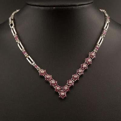 Sterling Ruby, White Topaz and Diamond Asymmetrical Necklace