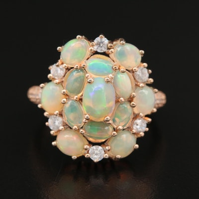 Sterling Opal and Cubic Zirconia Cluster Ring