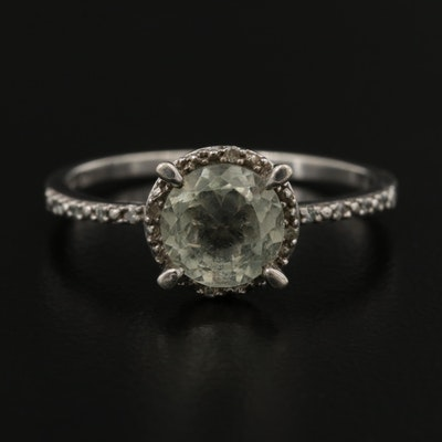 Sterling Silver Prasiolite Ring with Diamond Halo