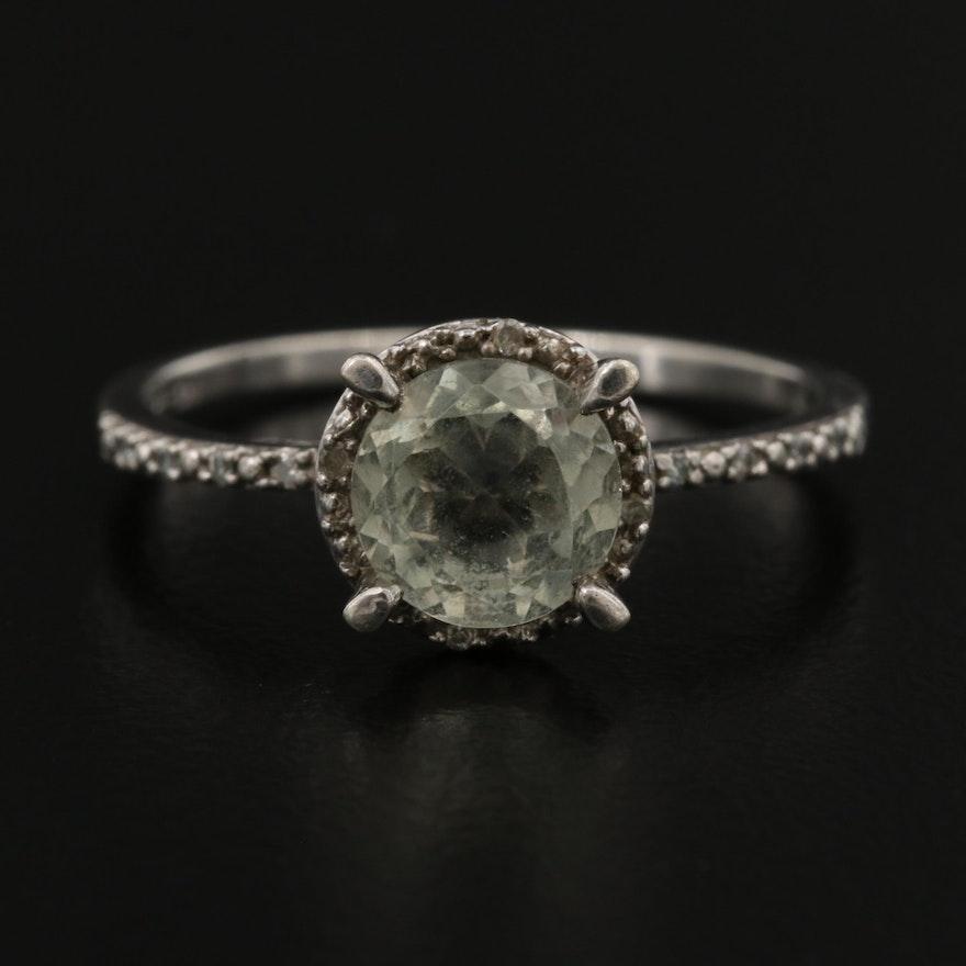 Sterling Silver Prasiolite Ring with Diamond Halo